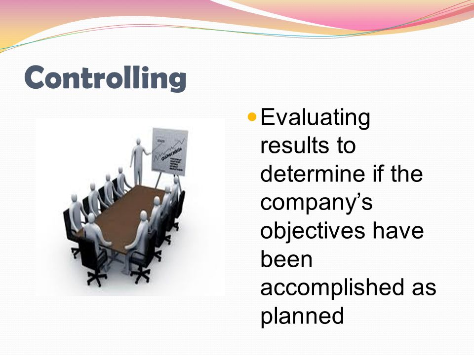 Controlling Evaluating results to determine if the company's objectives have been accomplished as planned.