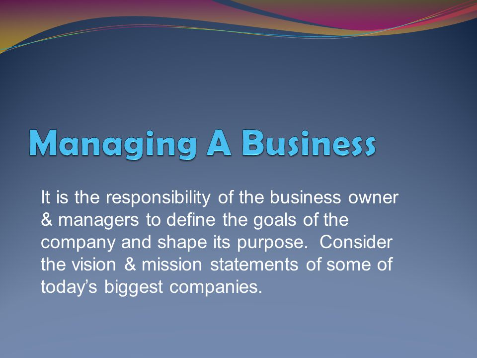 Managing A Business
