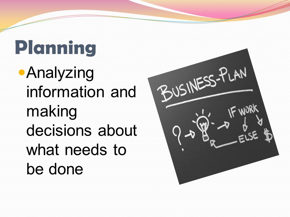 Planning Analyzing information and making decisions about what needs to be done