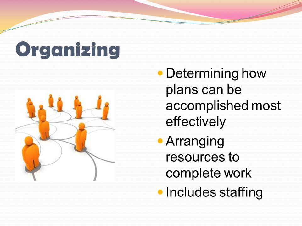 Organizing Determining how plans can be accomplished most effectively
