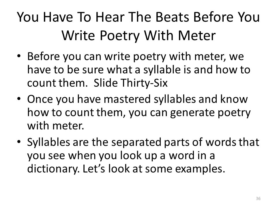 How do you write a beat poems