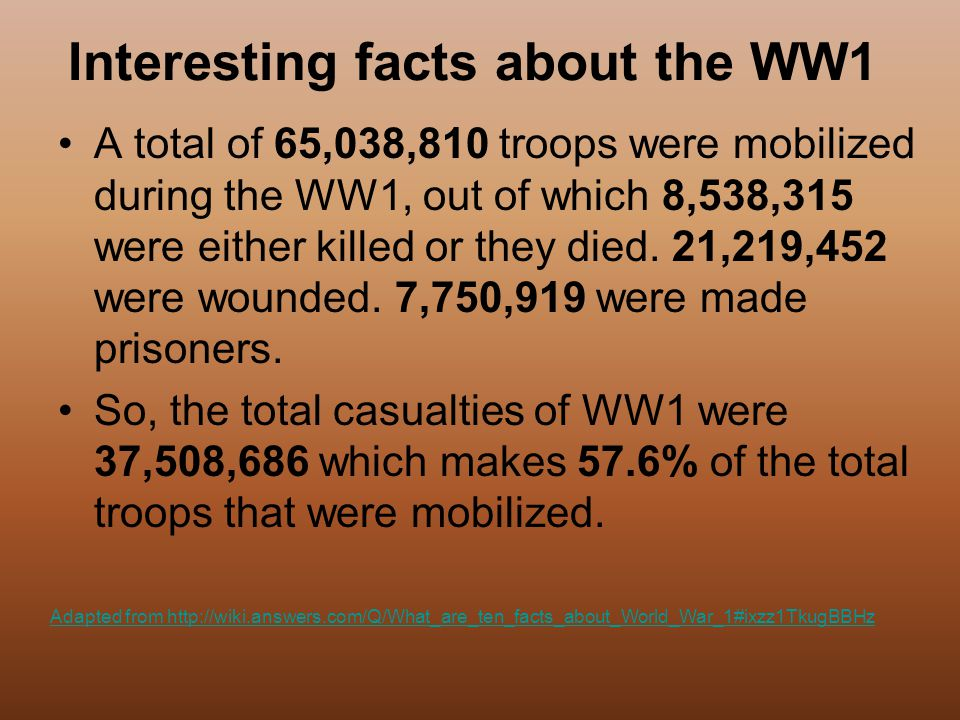 interesting facts about world war 1 World war one wasn't just mud and trenches here are 12 surprising facts about  world war one that you probably didn't know.