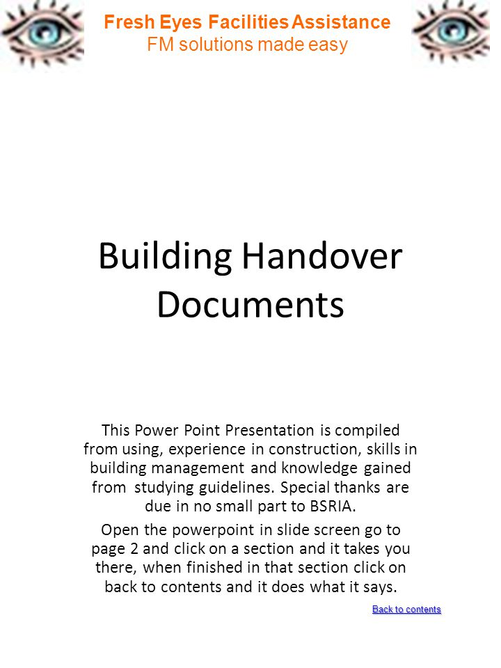 Building Handover Documents  Ppt Download