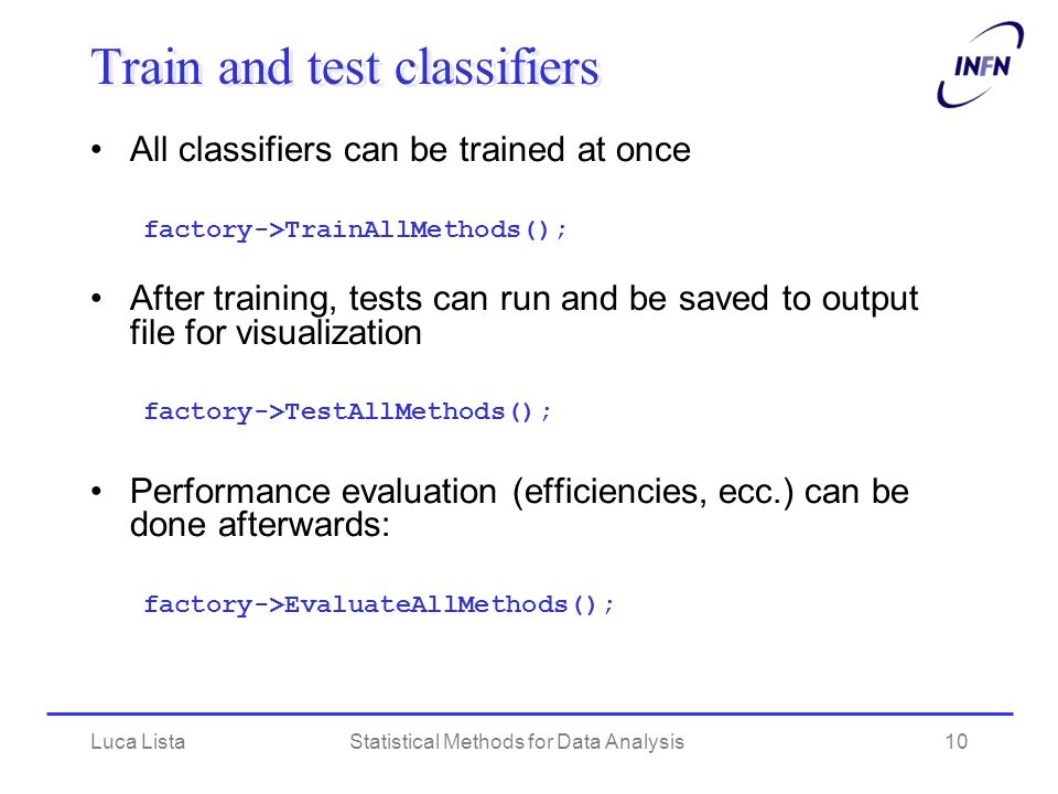 Train and test classifiers