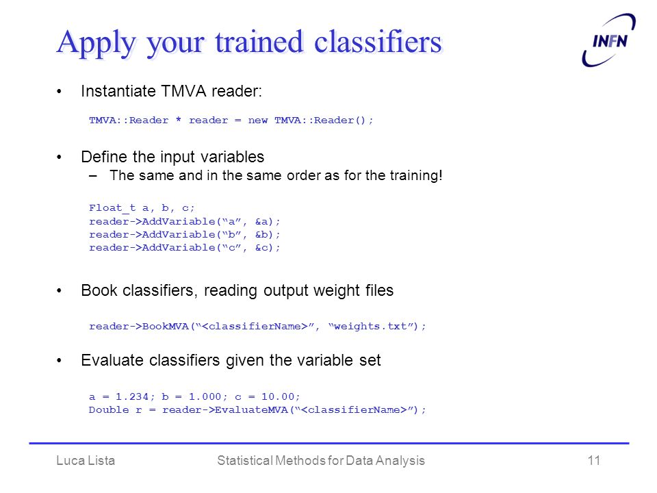 Apply your trained classifiers