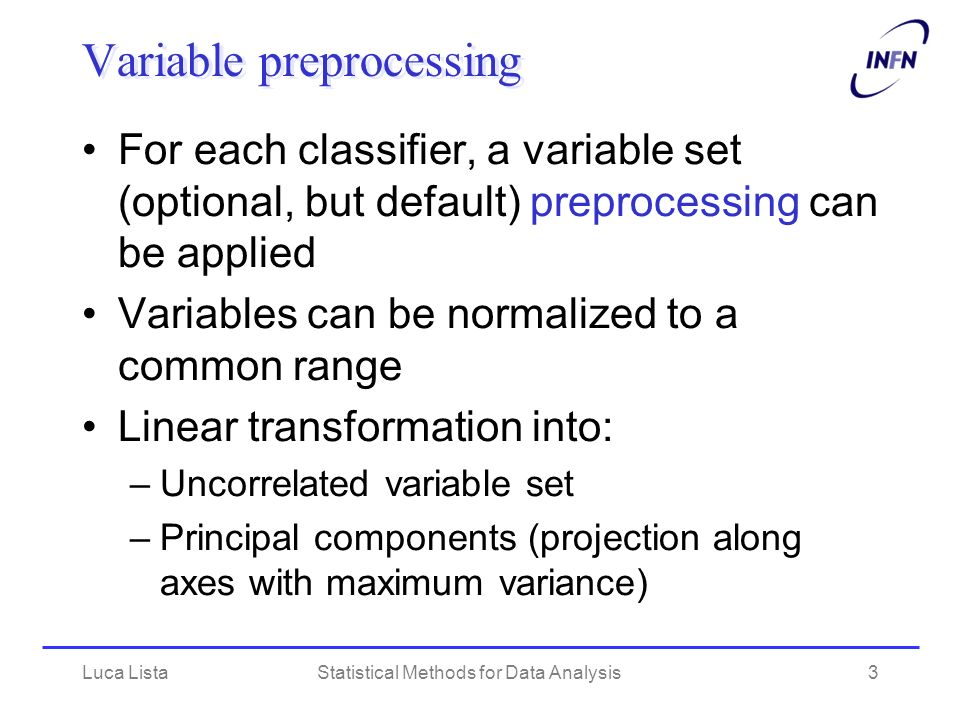 Variable preprocessing