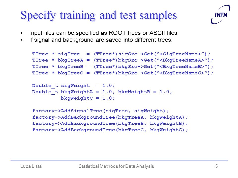 Specify training and test samples