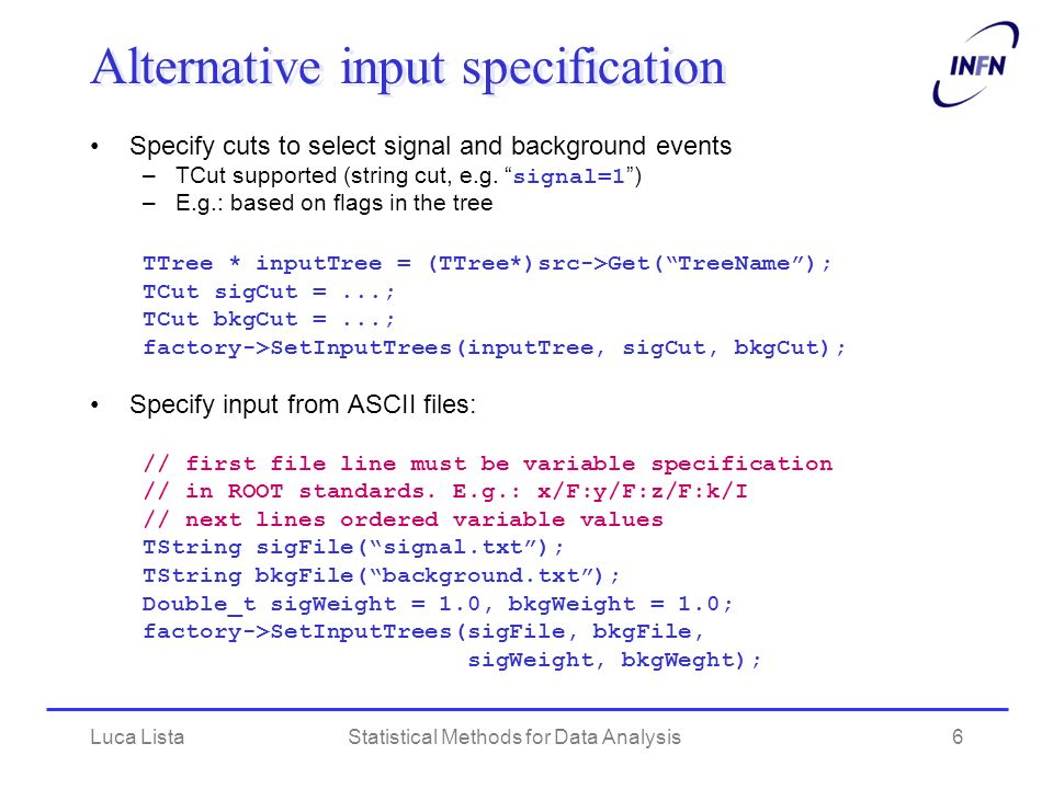 Alternative input specification