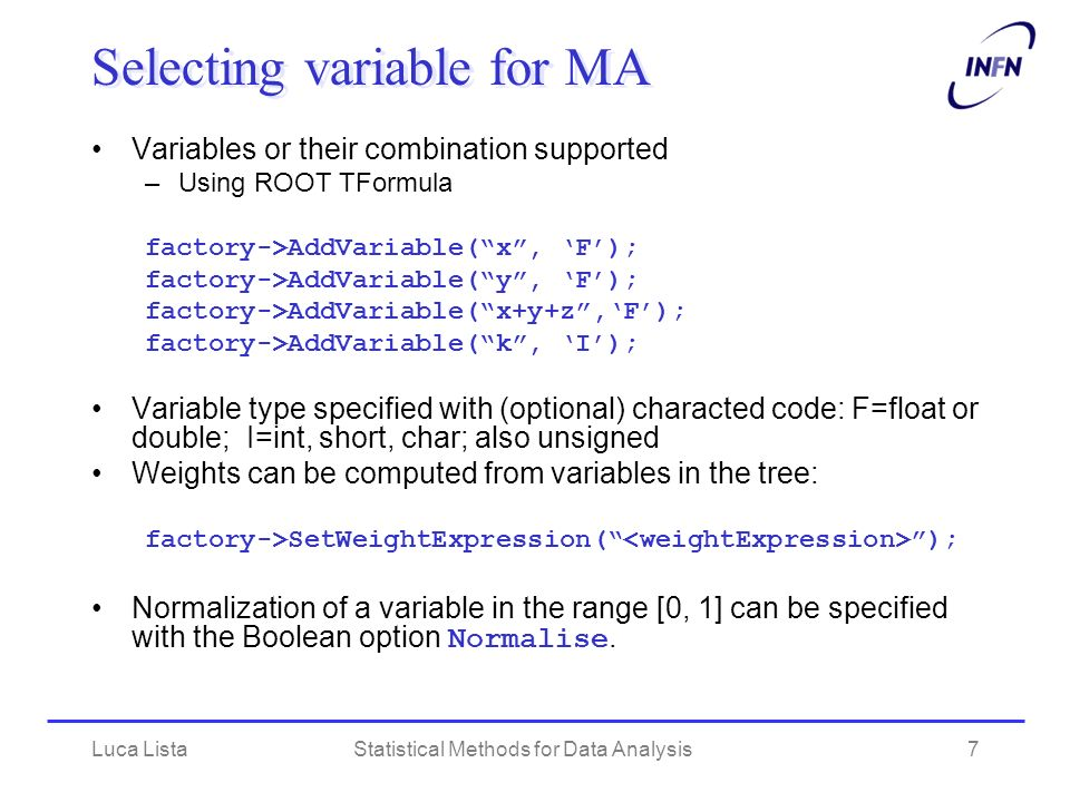 Selecting variable for MA
