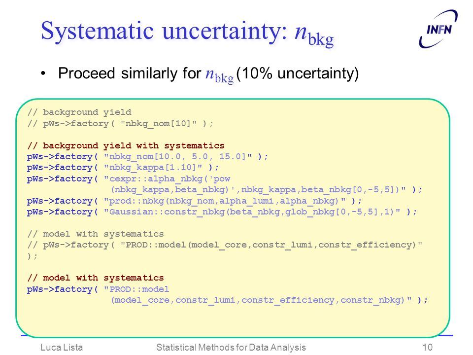 Systematic uncertainty: nbkg