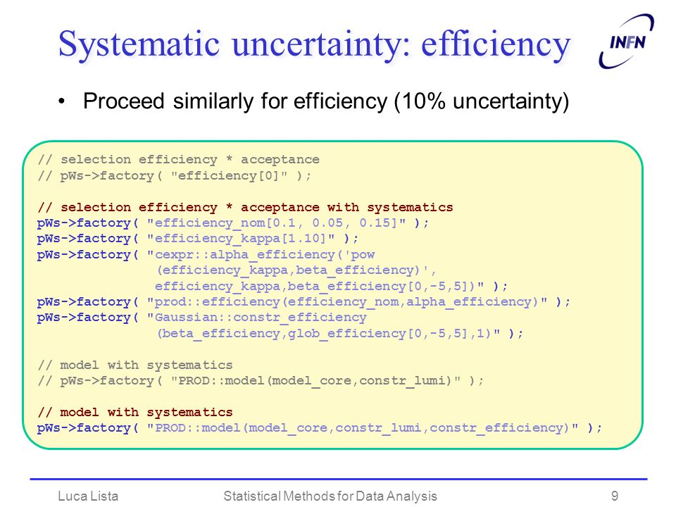 Systematic uncertainty: efficiency