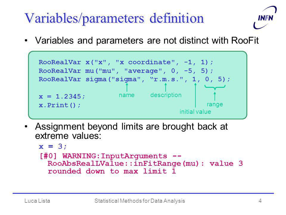 Variables/parameters definition