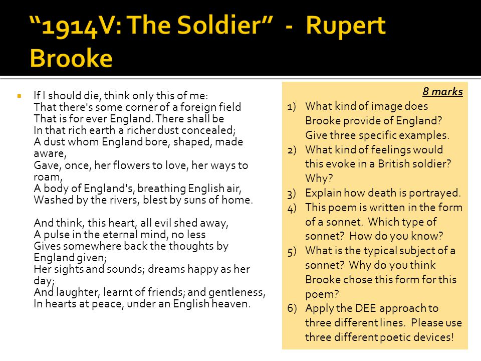 analysis of the soldier by rupert Analysis of the poem the soldier by rupert brooke essays: over 180,000 analysis of the poem the soldier by rupert brooke essays, analysis of the poem the soldier by rupert brooke term.