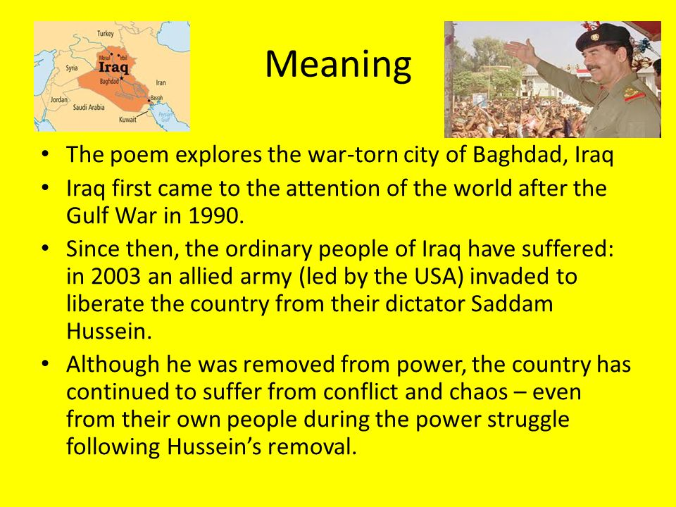 iraqi war poems An assortment of war poems which include some from iraqi and american poets and one from a 15 year old girl written on reflecting her visit to auschwitz i researched this in relation to work on remembrance day but there are poems here which could be u.