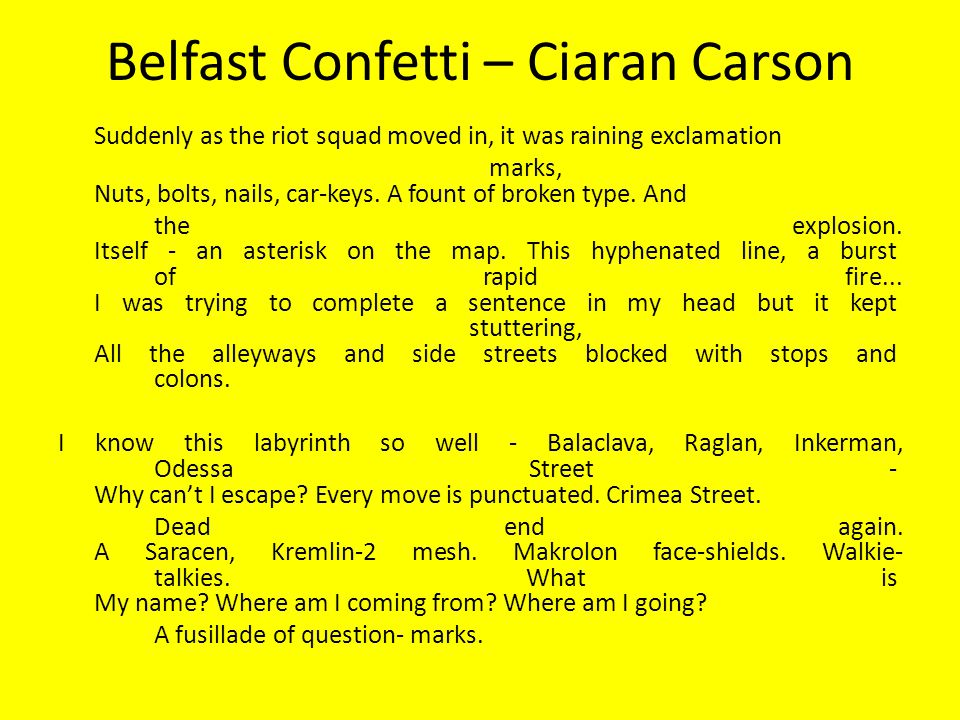 belfast confetti ciaran carson essay Places: dublin and its history and inhabitants, belfast and the troubles, cork and  the  week 9 belfast and the troubles: ciaran carson, belfast confetti  word  count of component(s): 2,000 words (mid-term), 4,000 words (final essay.