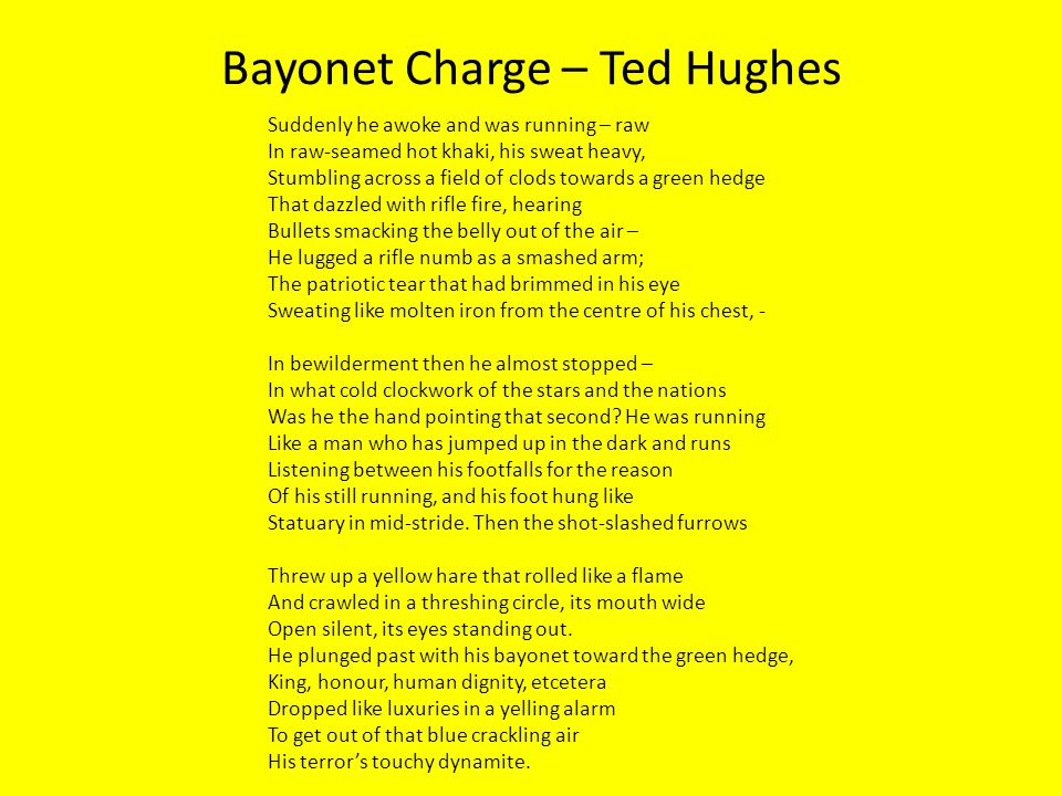 bayonet charge ted hughes Duchess, london, charge of the light brigade  checking out  ted hughes  was a former raf  light brigade', 'bayonet charge', 'poppies' and 'exposure.