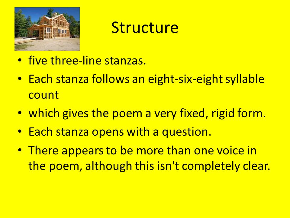 poems with more than 5 stanzas The fourth stanza provides a turning point for the poem as the reader realises that  what  for instance, the words in the title can have more than one meaning.