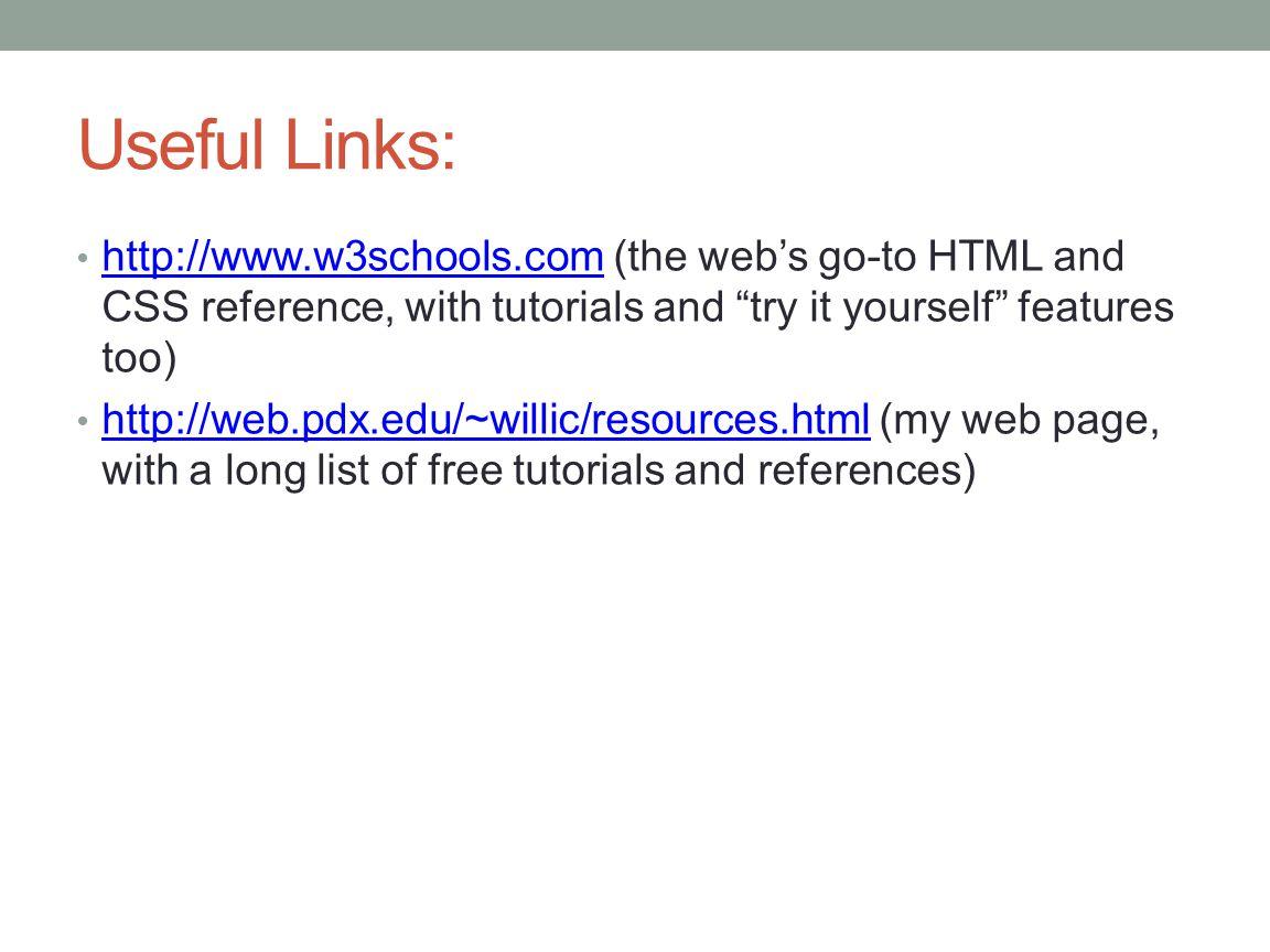 Web colors w3schools - Useful Links Http Www W3schools Com The Web S Go