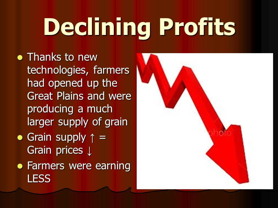 Declining Profits Thanks to new technologies, farmers had opened up the Great Plains and were producing a much larger supply of grain.