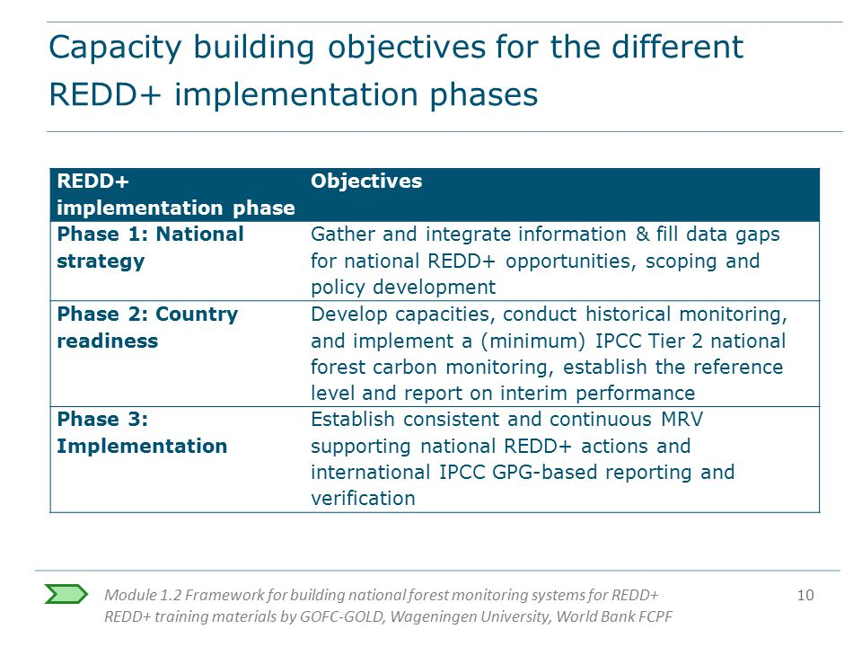 Capacity building objectives for the different REDD+ implementation phases