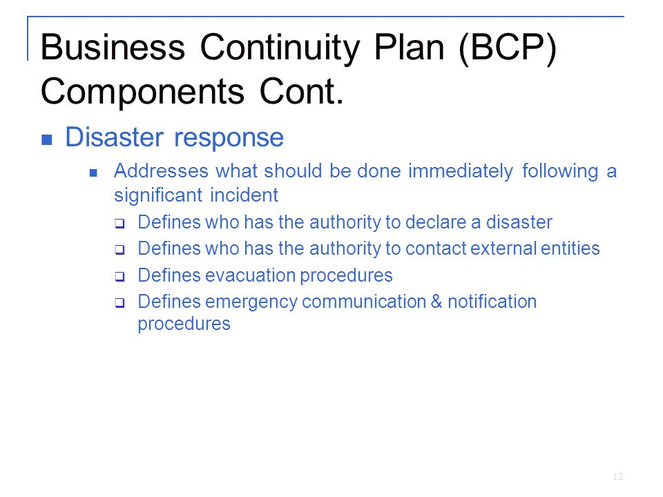 business continuity program notification