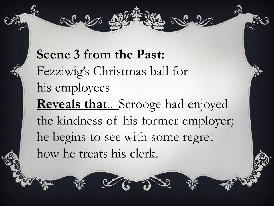 Scene 3 from the Past: Fezziwig's Christmas ball for his employees.