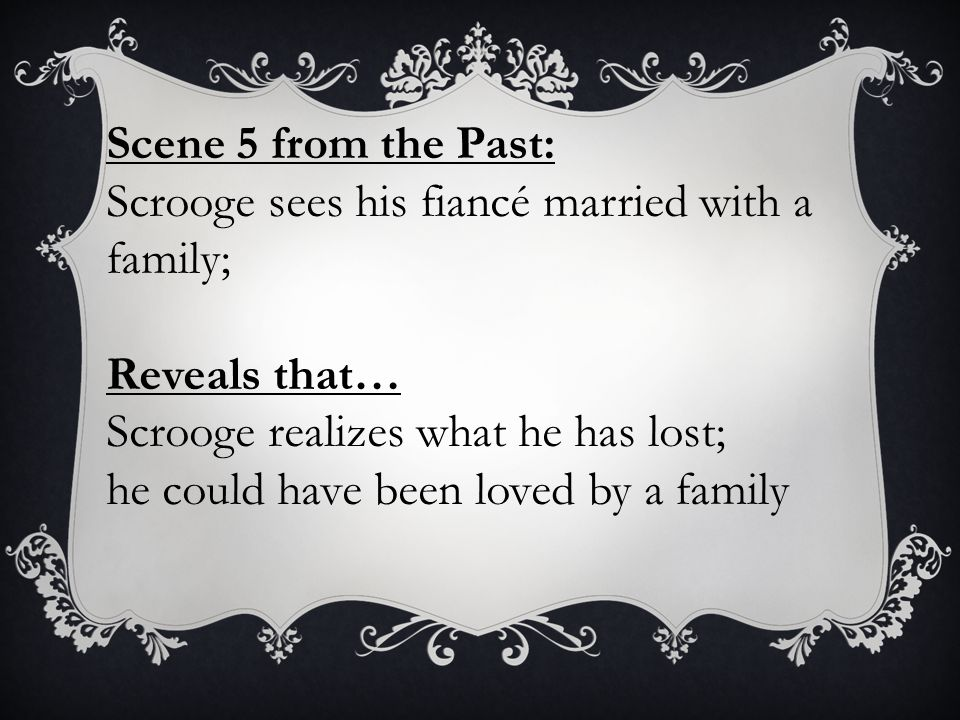 Scene 5 from the Past: Scrooge sees his fiancé married with a family; Reveals that… Scrooge realizes what he has lost;