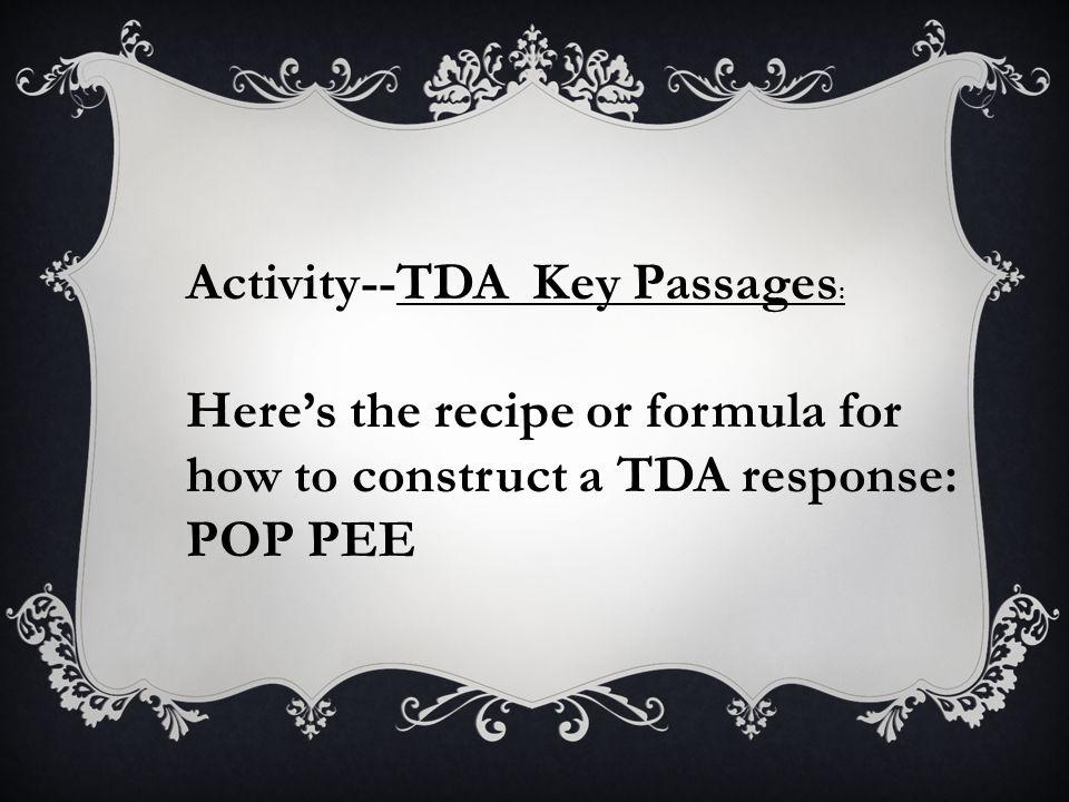 Activity--TDA Key Passages: