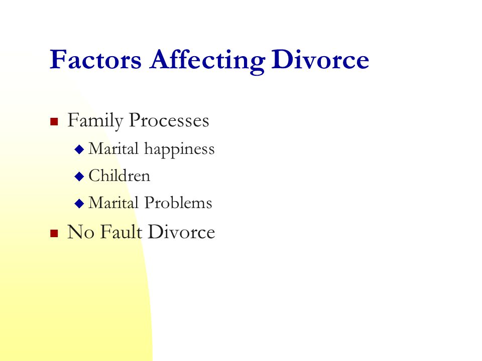 Factors Affecting Divorce