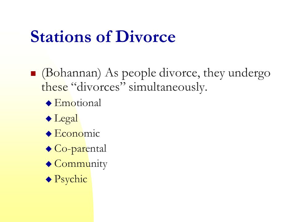 Stations of Divorce (Bohannan) As people divorce, they undergo these divorces simultaneously. Emotional.