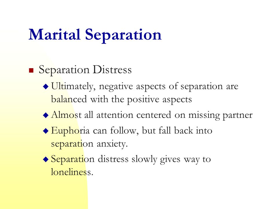 Marital Separation Separation Distress