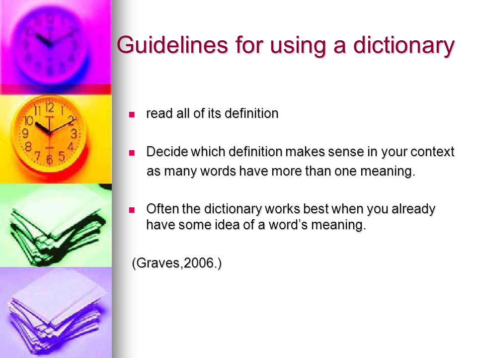 Guidelines for using a dictionary