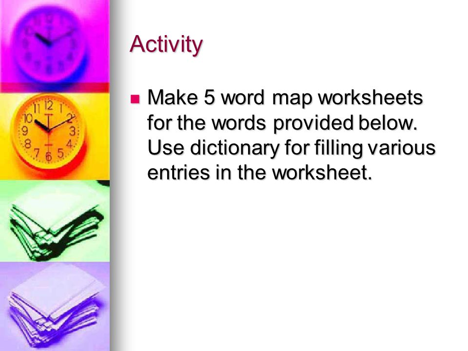Activity Make 5 word map worksheets for the words provided below.