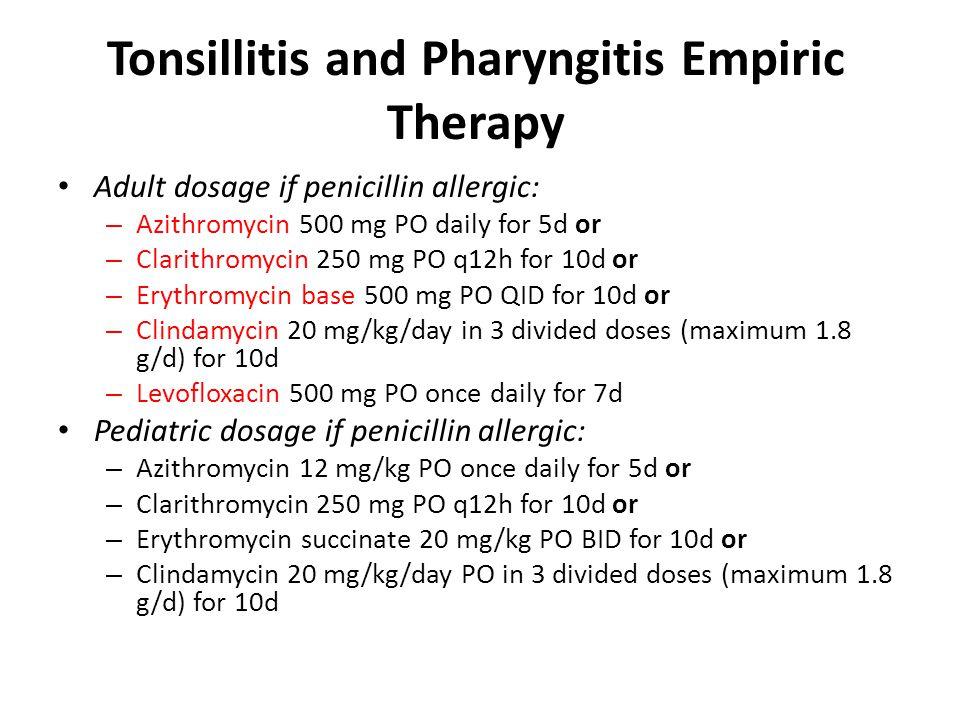Azithromycin dosing for tonsillitis