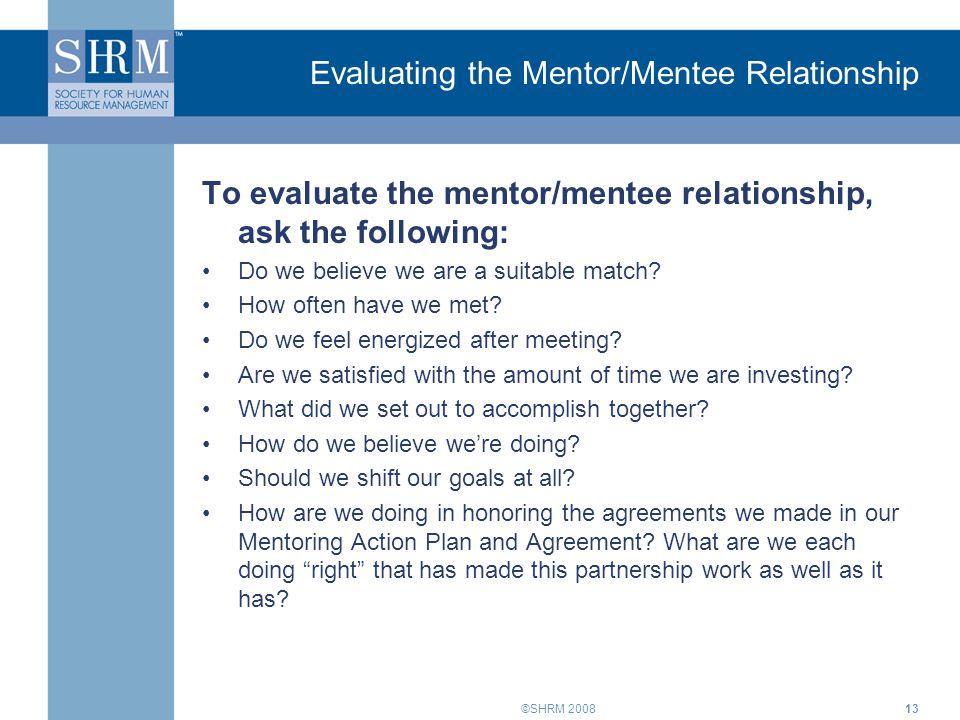 Evaluating the Mentor/Mentee Relationship