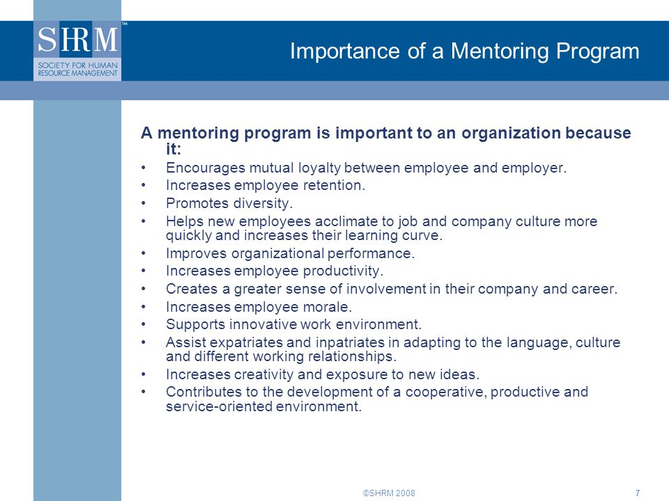 Importance of a Mentoring Program