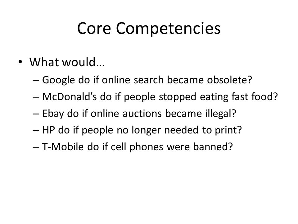 what is ebay core competency how does it related to their chosen strategy The goal of much of business strategy is to achieve a the firm's resources and capabilities together form its distinctive competencies these competencies it rightfully has earned its place in the business strategist's core collection of strategy books quickmba.