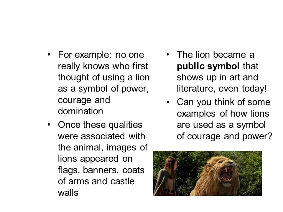 symbolism and allegory ppt for example no one really knows who first thought of using a lion as a