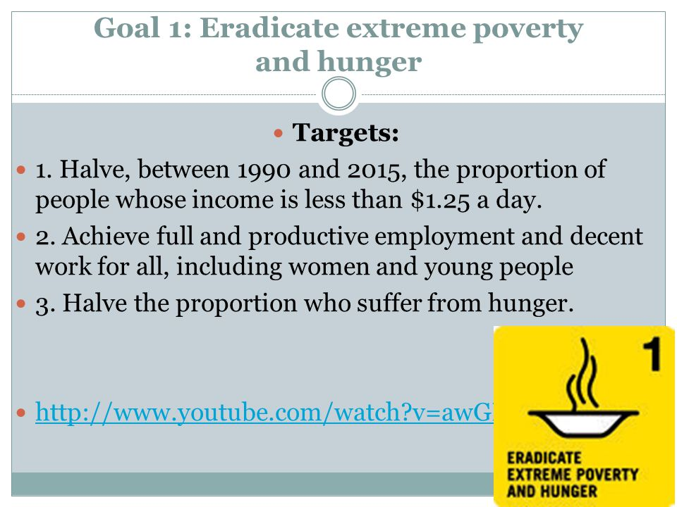 eradication of poverty and hunger