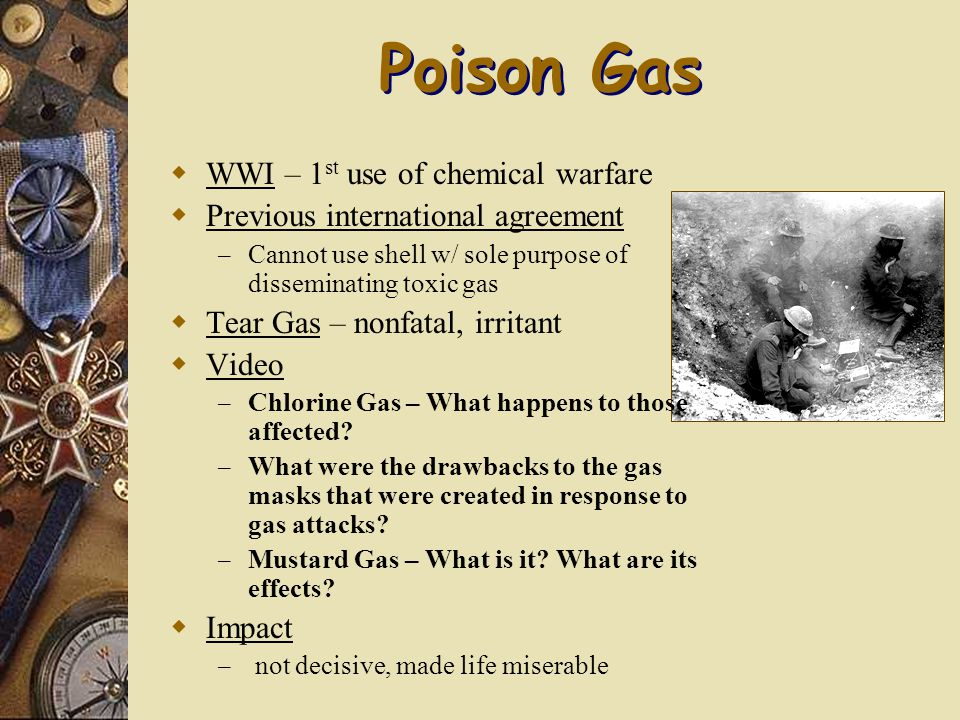 poison gas in ww1 essay Poison gas was probably one of the most feared weapons from world war one  below is an essay on poison gas from anti essays,  technology of ww1.