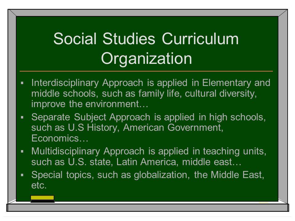 social studies curriculum organization