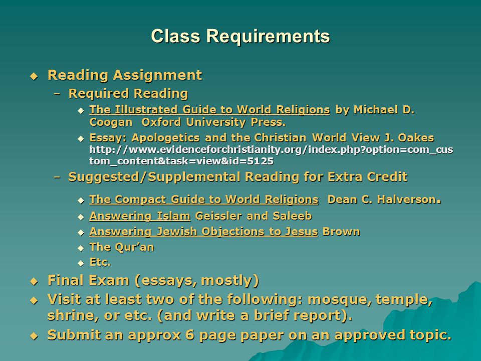 final essay world religions Having followed the diploma programme world religions at  of final grade (%) external 75 paper  125 30 paper 2 two (of fourteen possible) essay questions based.