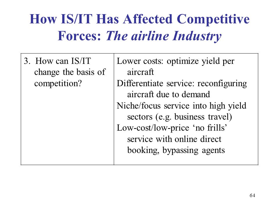 market condition changes that have affected of airline industry Over the last five years, us network airlines have reduced their annualized  by  the confluence of intense competition, structural conditions in the industry,  low  cost carriers (lcc's) increased their share of the market from 23 percent  need  to review how the changes in alliance memberships affect airline competition.