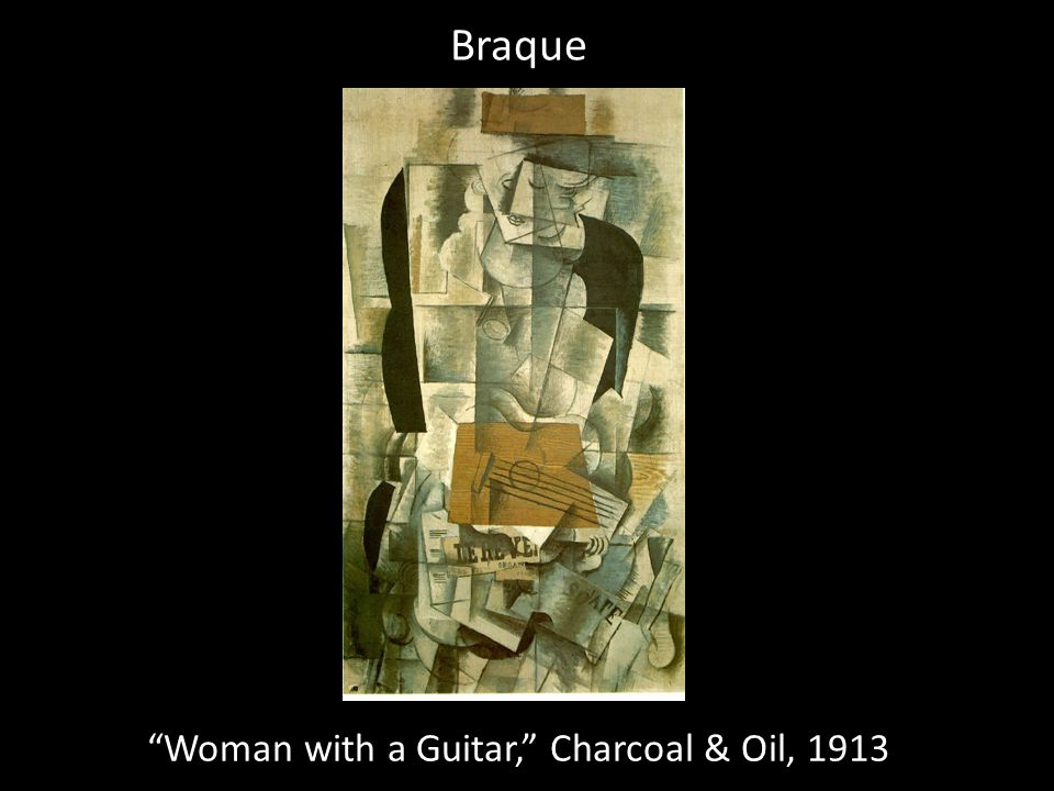 Woman with a Guitar, Charcoal & Oil, 1913