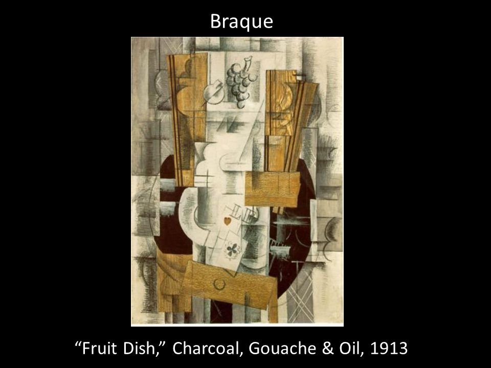 Fruit Dish, Charcoal, Gouache & Oil, 1913