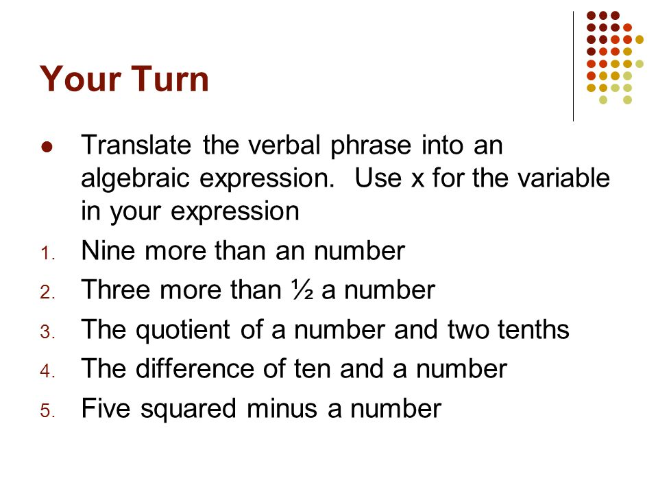 Write a variable expression to represent the phrase