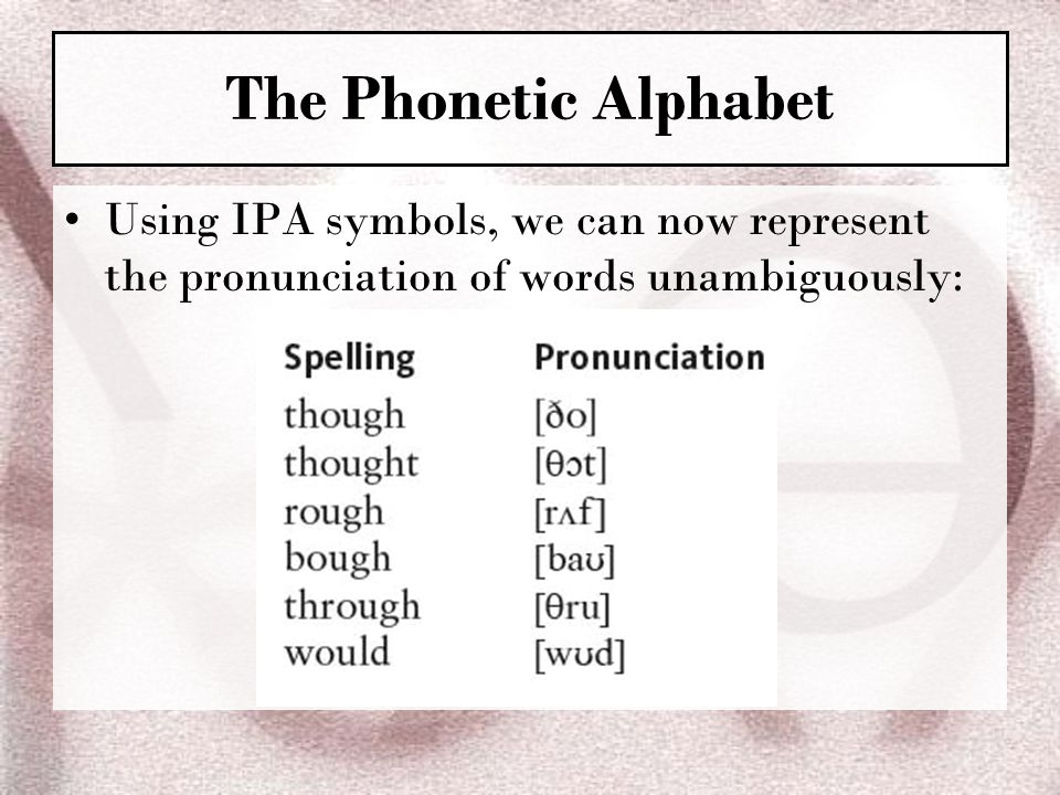 The Phonetic Alphabet Using IPA symbols, we can now represent the pronunciation of words unambiguously: