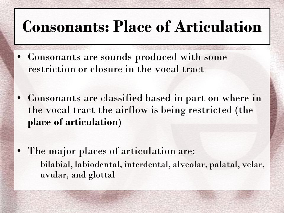 Consonants: Place of Articulation