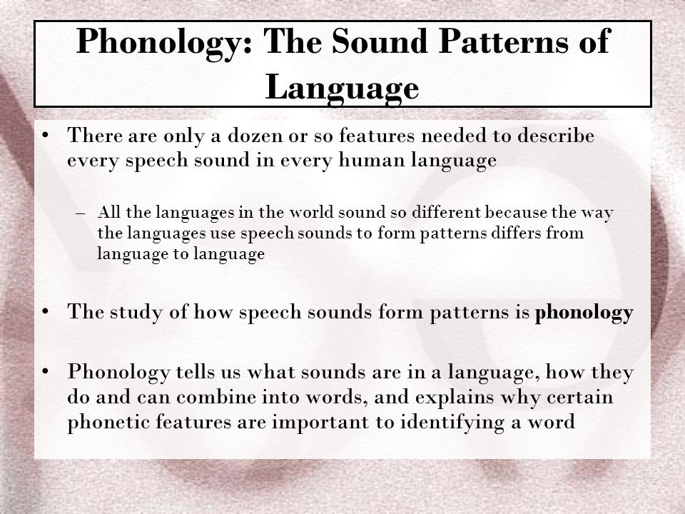 Phonology: The Sound Patterns of Language