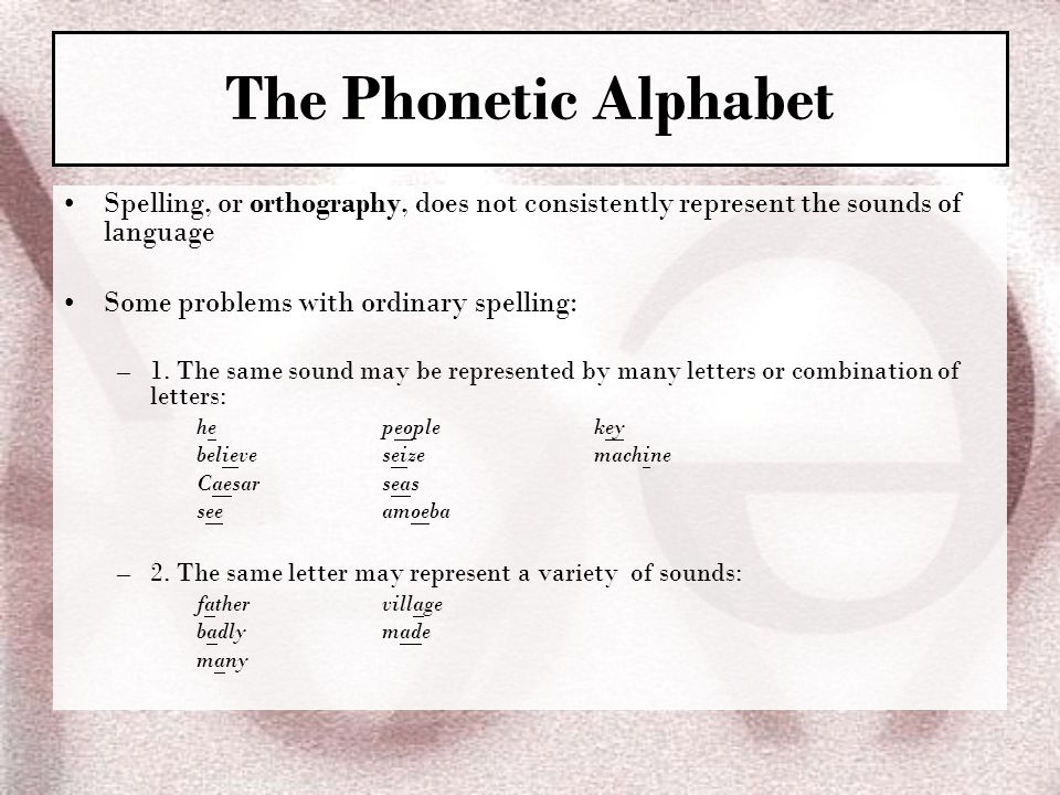 The Phonetic Alphabet Spelling, or orthography, does not consistently represent the sounds of language.